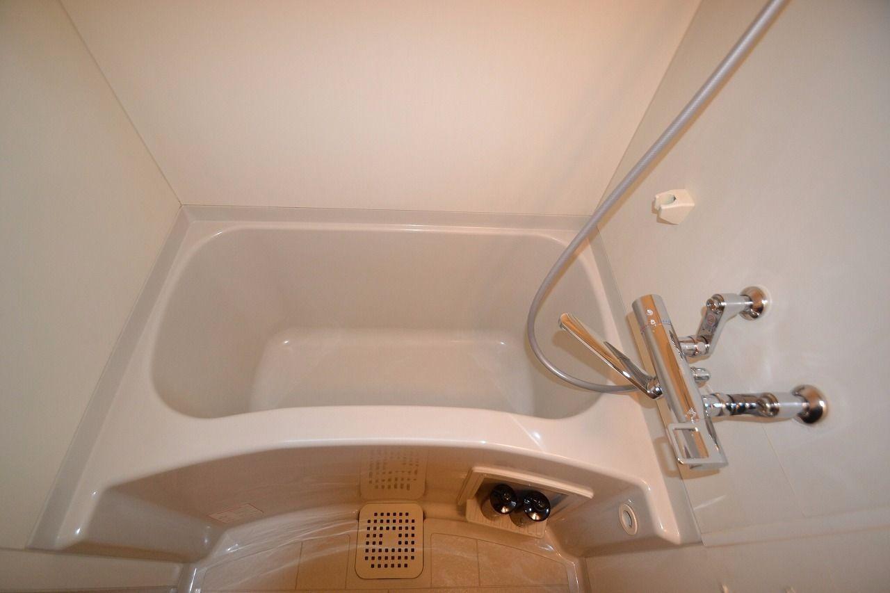 水栓はサーモスタットシャワーで温度調整も楽々なんです!