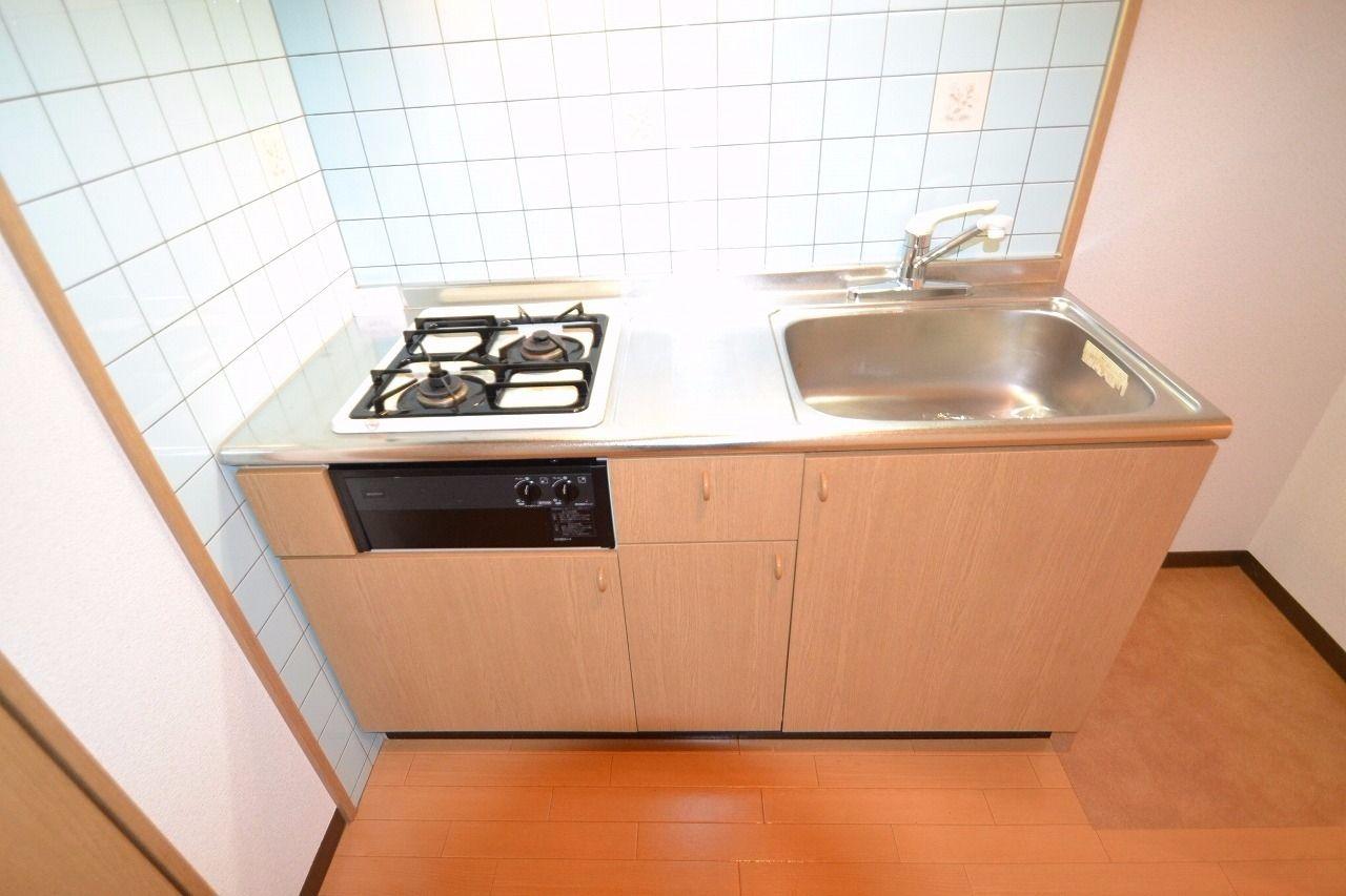 システムキッチンです! コンロは2口ガスコンロ。