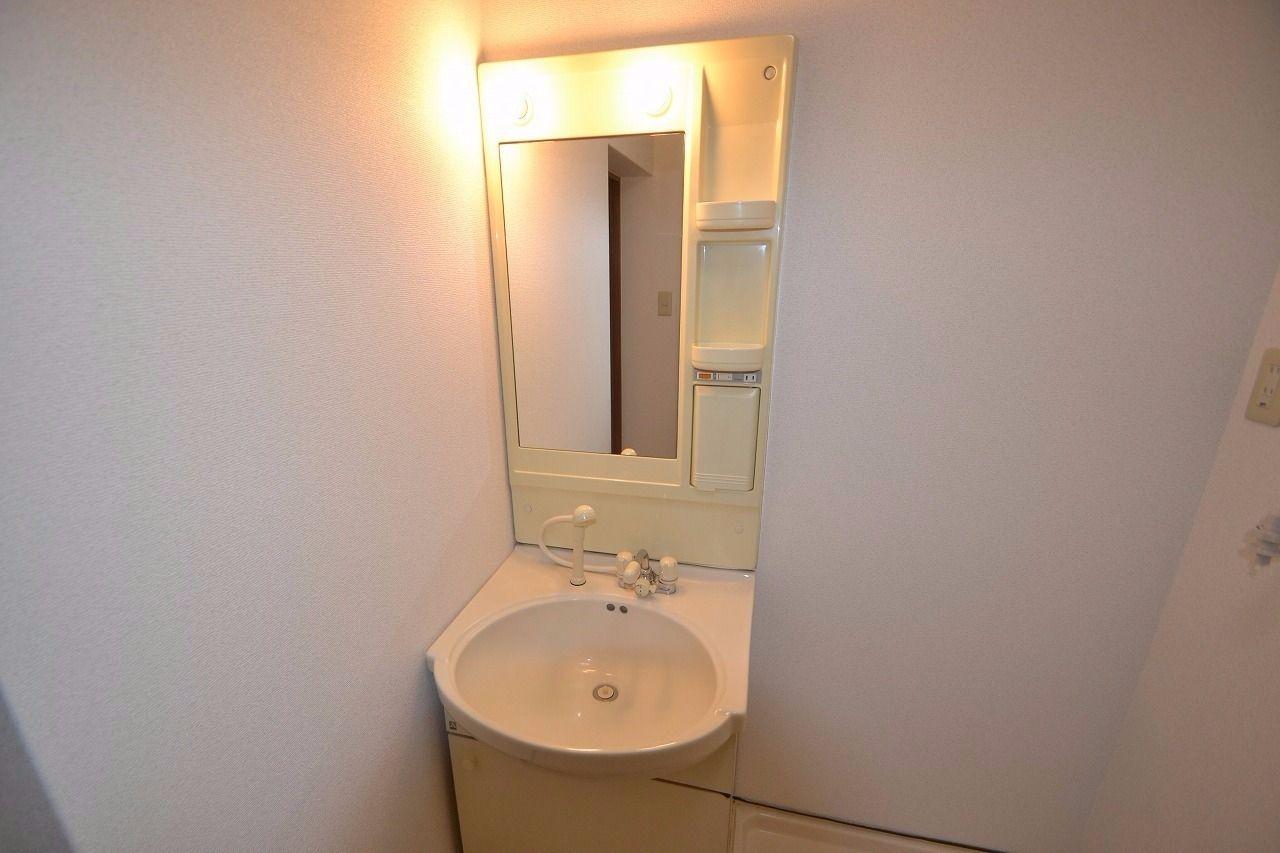 蛇口がシャワータイプになっている使いやすい洗面台。